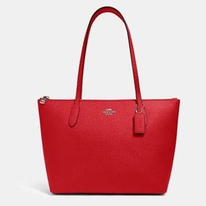 Coach Red Zip Tote Hand Bags Purses